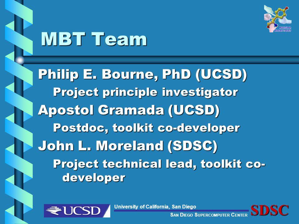S AN D IEGO S UPERCOMPUTER C ENTER University of California, San DiegoSDSC MBT Team Philip E.