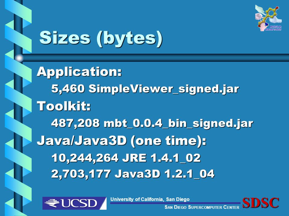 S AN D IEGO S UPERCOMPUTER C ENTER University of California, San DiegoSDSC Sizes (bytes) Application: 5,460 SimpleViewer_signed.jar Toolkit: 487,208 mbt_0.0.4_bin_signed.jar Java/Java3D (one time): 10,244,264 JRE 1.4.1_02 2,703,177 Java3D 1.2.1_04