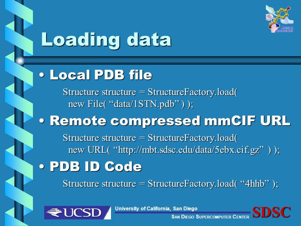 S AN D IEGO S UPERCOMPUTER C ENTER University of California, San DiegoSDSC Loading data Local PDB fileLocal PDB file Structure structure = StructureFactory.load( new File( data/1STN.pdb ) ); Remote compressed mmCIF URLRemote compressed mmCIF URL Structure structure = StructureFactory.load( new URL( http://mbt.sdsc.edu/data/5ebx.cif.gz ) ); PDB ID CodePDB ID Code Structure structure = StructureFactory.load( 4hhb );