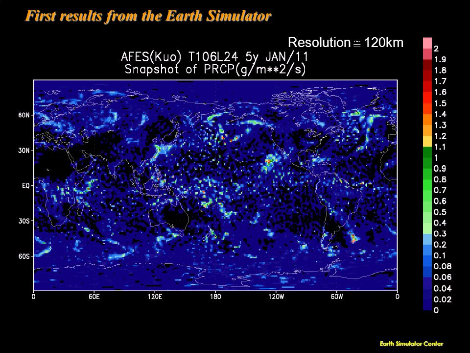 KAIS T Earth Simulator Center First results from the Earth Simulator Resolution  120km
