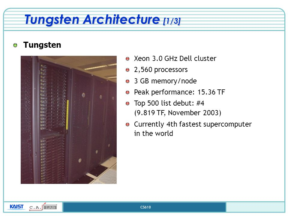 CS610 Tungsten Architecture [1/3] Tungsten Xeon 3.0 GHz Dell cluster 2,560 processors 3 GB memory/node Peak performance: 15.36 TF Top 500 list debut: #4 (9.819 TF, November 2003) Currently 4th fastest supercomputer in the world