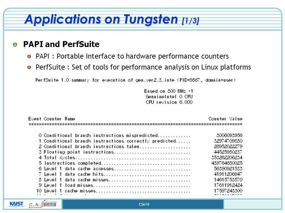CS610 Applications on Tungsten [1/3] PAPI and PerfSuite PAPI : Portable interface to hardware performance counters PerfSuite : Set of tools for perfor