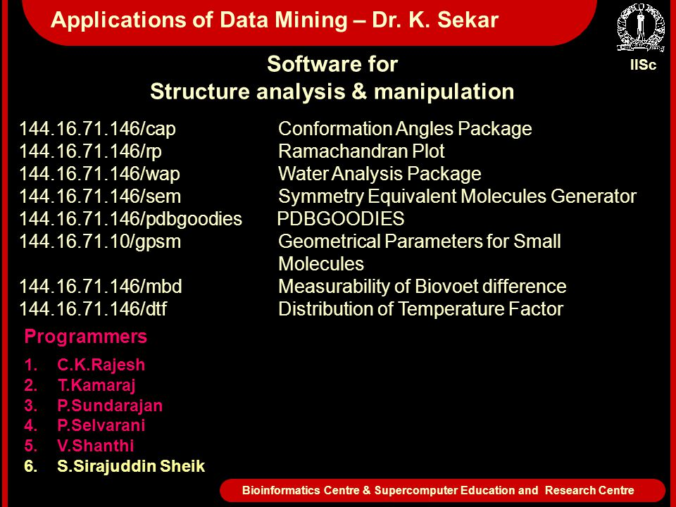 IISc Bioinformatics Centre & Supercomputer Education and Research Centre Applications of Data Mining – Dr. K. Sekar Software for Structure analysis &