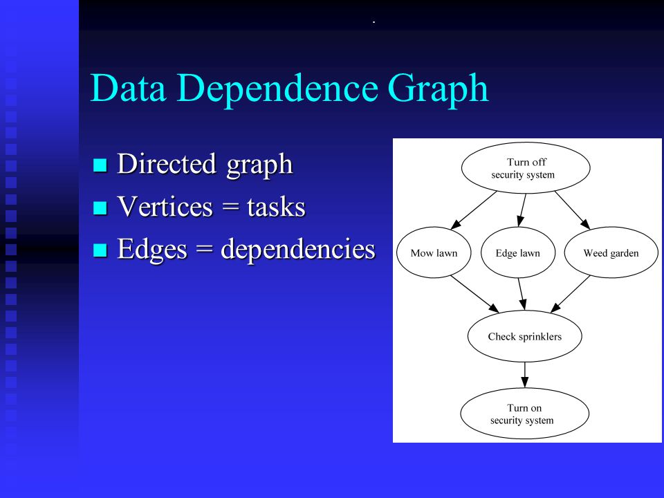 . Data Dependence Graph Directed graph Directed graph Vertices = tasks Vertices = tasks Edges = dependencies Edges = dependencies