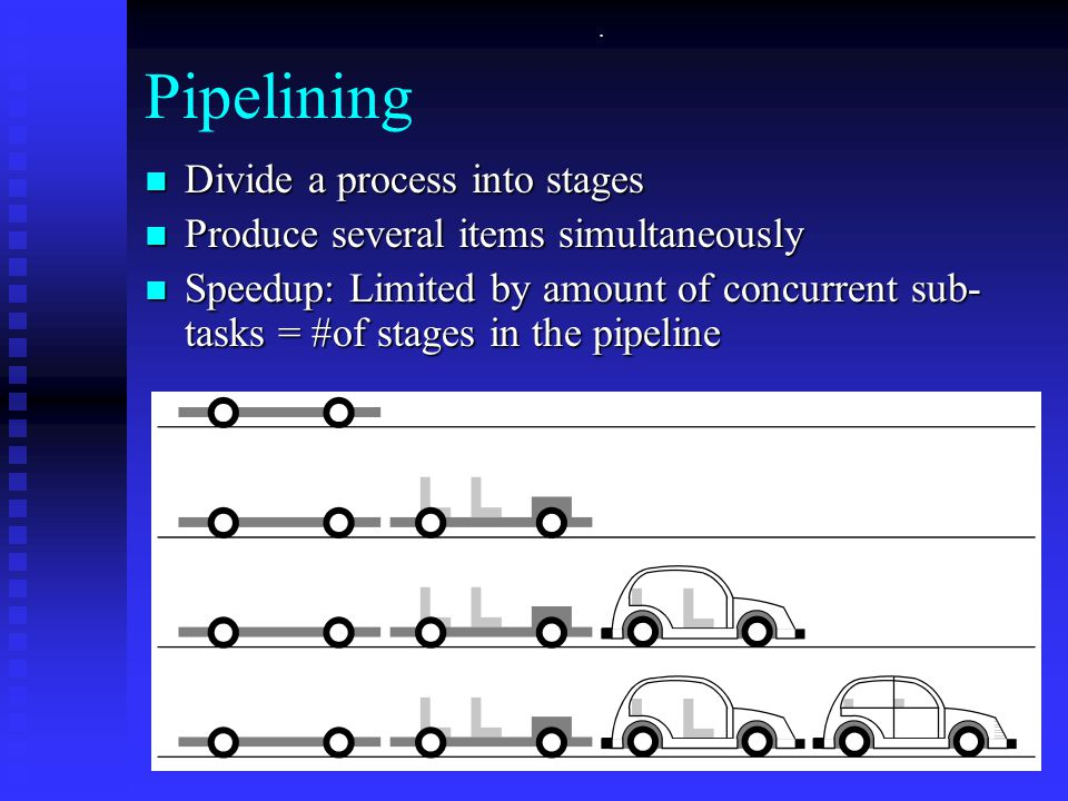 . Pipelining Divide a process into stages Divide a process into stages Produce several items simultaneously Produce several items simultaneously Speedup: Limited by amount of concurrent sub- tasks = #of stages in the pipeline Speedup: Limited by amount of concurrent sub- tasks = #of stages in the pipeline