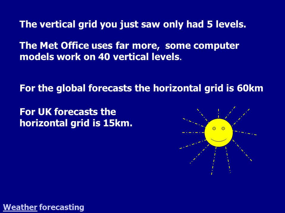 The vertical grid you just saw only had 5 levels. The Met Office uses far more, some computer models work on 40 vertical levels. WeatherWeather foreca