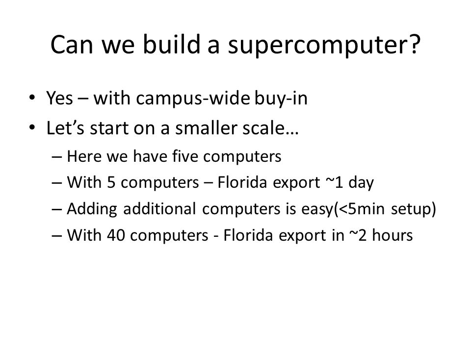 Can we build a supercomputer.