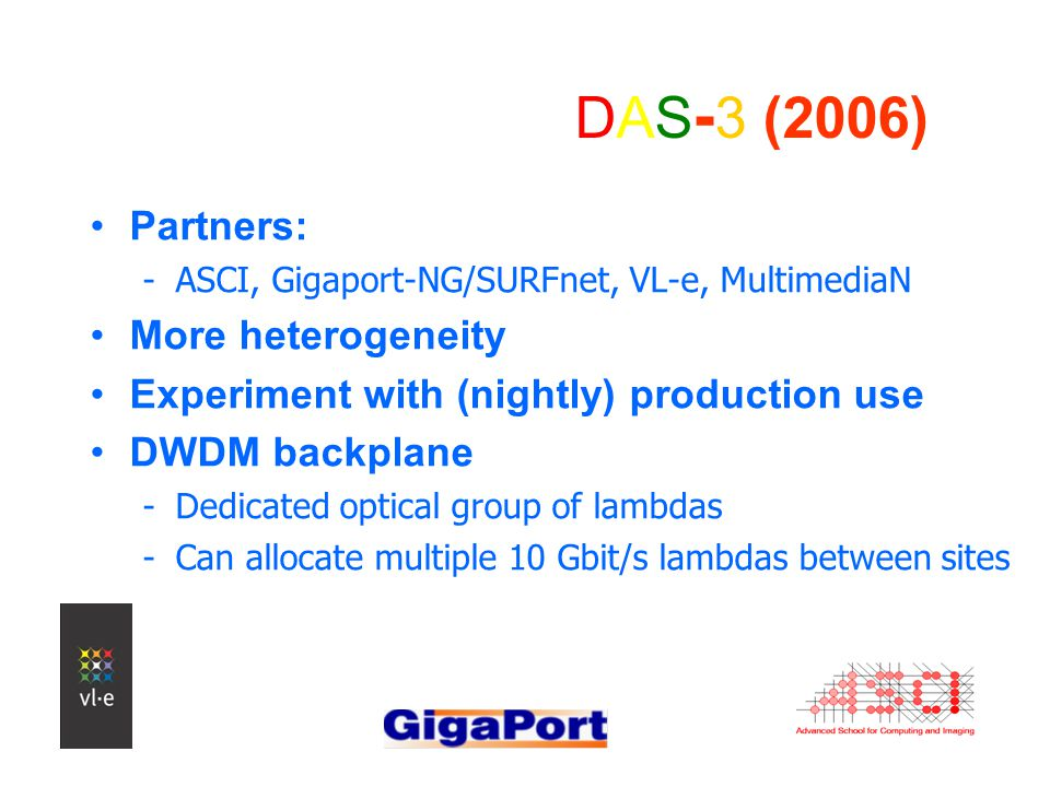 DAS - 3 (2006) Partners: -ASCI, Gigaport-NG/SURFnet, VL-e, MultimediaN More heterogeneity Experiment with (nightly) production use DWDM backplane -Dedicated optical group of lambdas -Can allocate multiple 10 Gbit/s lambdas between sites