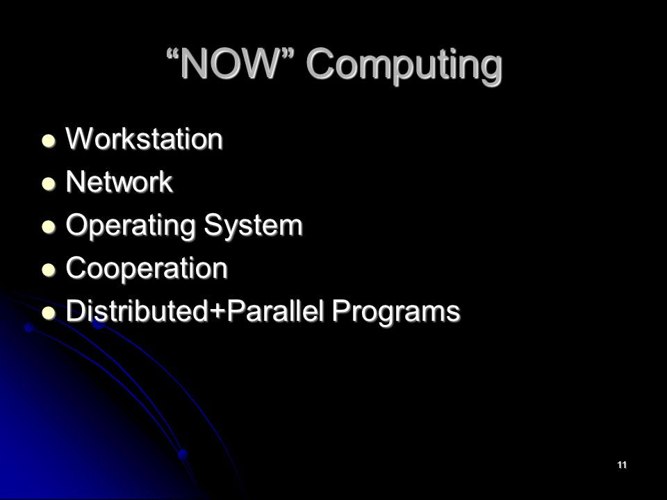 11 NOW Computing Workstation Workstation Network Network Operating System Operating System Cooperation Cooperation Distributed+Parallel Programs Distributed+Parallel Programs