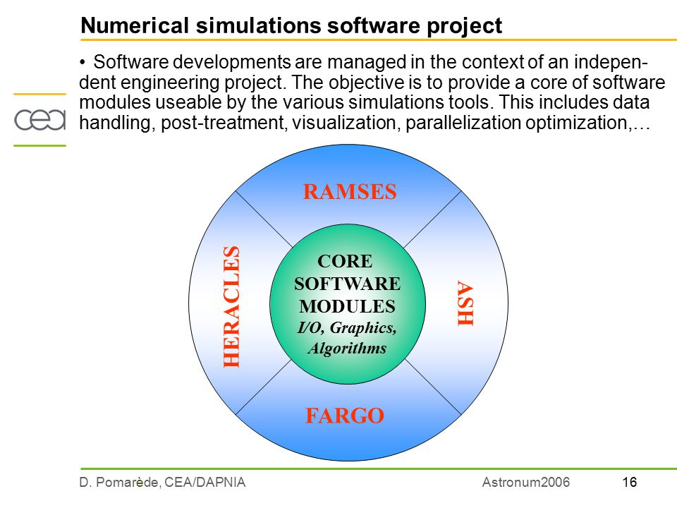 16D. Pomarède, CEA/DAPNIAAstronum2006 Numerical simulations software project Software developments are managed in the context of an indepen- dent engi
