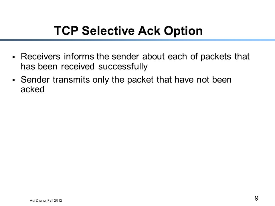 Hui Zhang, Fall 2012 9 TCP Selective Ack Option  Receivers informs the sender about each of packets that has been received successfully  Sender transmits only the packet that have not been acked