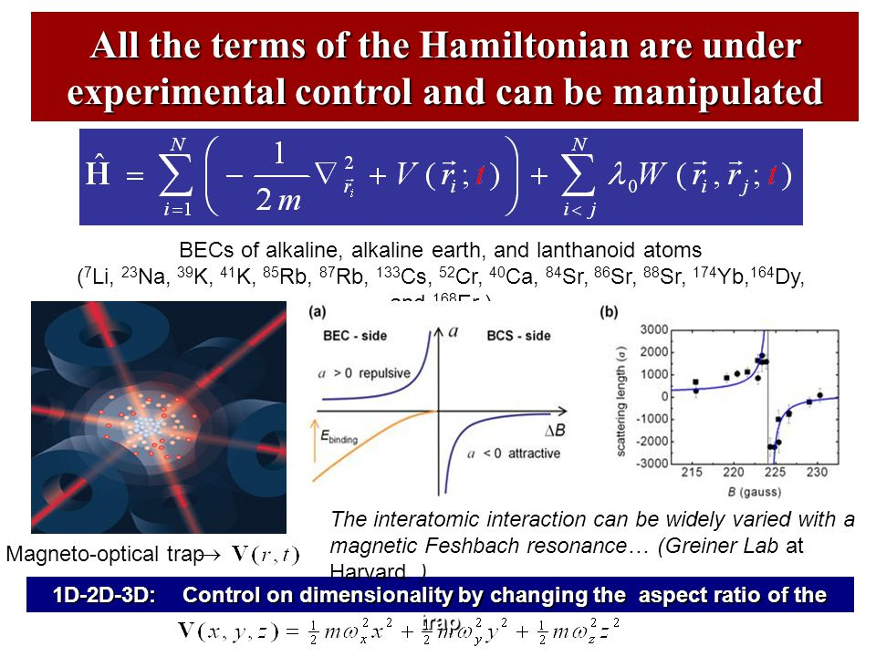 All the terms of the Hamiltonian are under experimental control and can be manipulated 1D-2D-3D: Control on dimensionality by changing the aspect ratio of the trap BECs of alkaline, alkaline earth, and lanthanoid atoms ( 7 Li, 23 Na, 39 K, 41 K, 85 Rb, 87 Rb, 133 Cs, 52 Cr, 40 Ca, 84 Sr, 86 Sr, 88 Sr, 174 Yb, 164 Dy, and 168 Er ) The interatomic interaction can be widely varied with a magnetic Feshbach resonance… (Greiner Lab at Harvard.