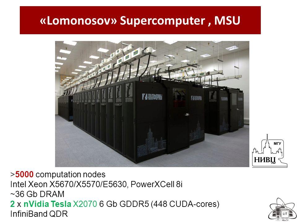 «Lomonosov» Supercomputer, MSU >5000 computation nodes Intel Xeon X5670/X5570/E5630, PowerXCell 8i ~36 Gb DRAM 2 x nVidia Tesla X2070 6 Gb GDDR5 (448 CUDA-cores) InfiniBand QDR
