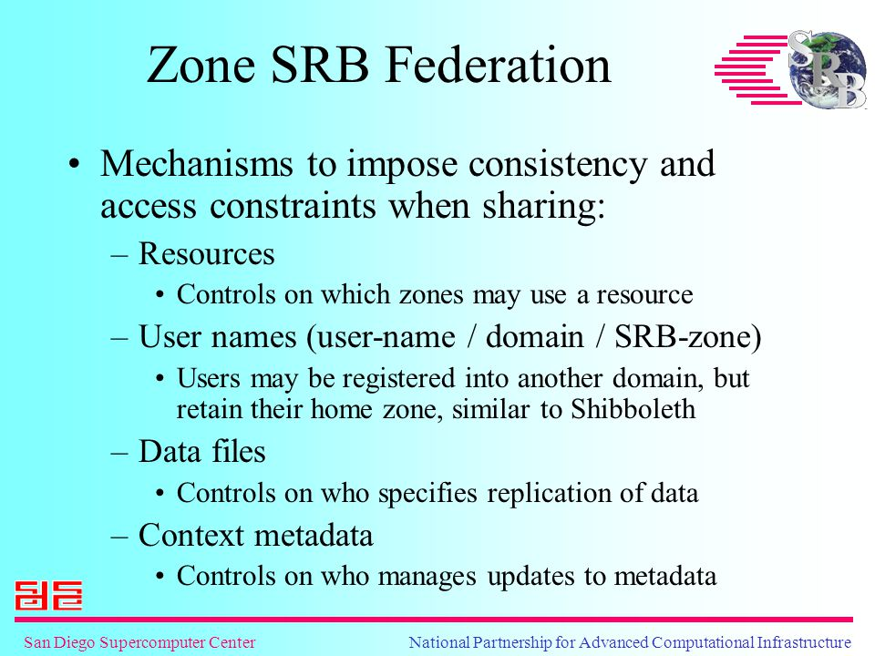 Zone SRB Federation Mechanisms to impose consistency and access constraints when sharing: –Resources Controls on which zones may use a resource –User names (user-name / domain / SRB-zone) Users may be registered into another domain, but retain their home zone, similar to Shibboleth –Data files Controls on who specifies replication of data –Context metadata Controls on who manages updates to metadata