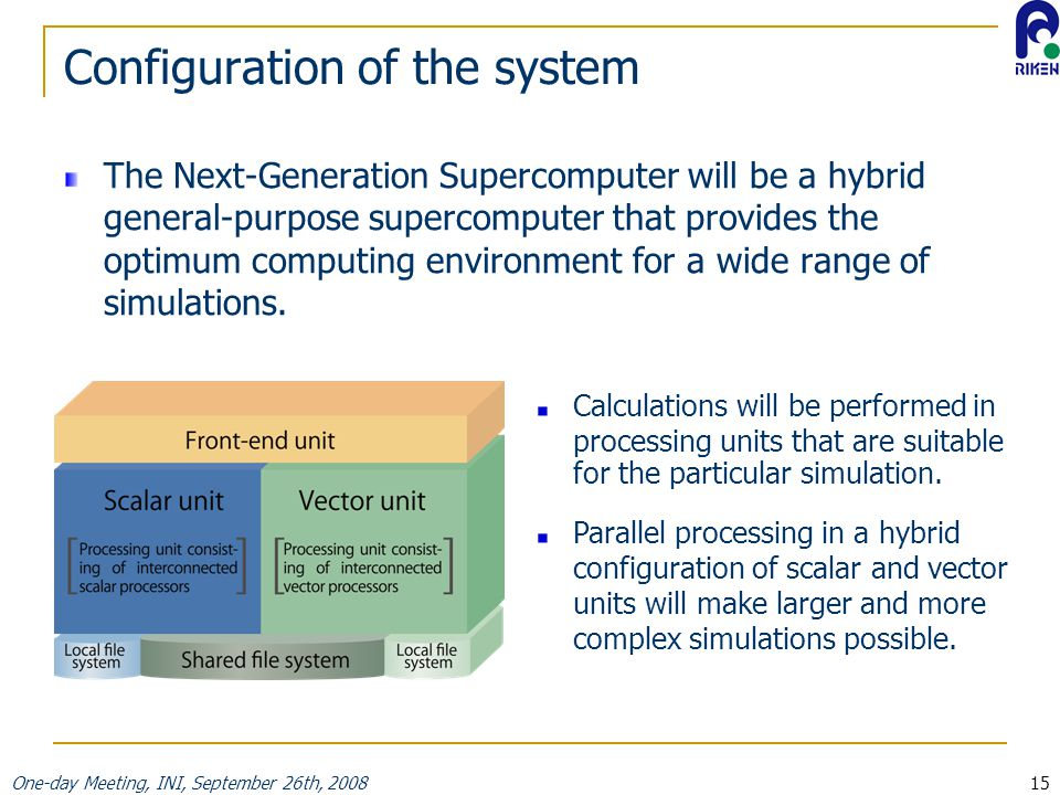 One-day Meeting, INI, September 26th, 200815 Configuration of the system The Next-Generation Supercomputer will be a hybrid general-purpose supercomputer that provides the optimum computing environment for a wide range of simulations.