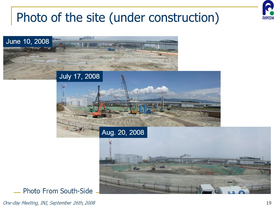 One-day Meeting, INI, September 26th, 200819 Photo of the site (under construction) June 10, 2008 July 17, 2008 Aug.