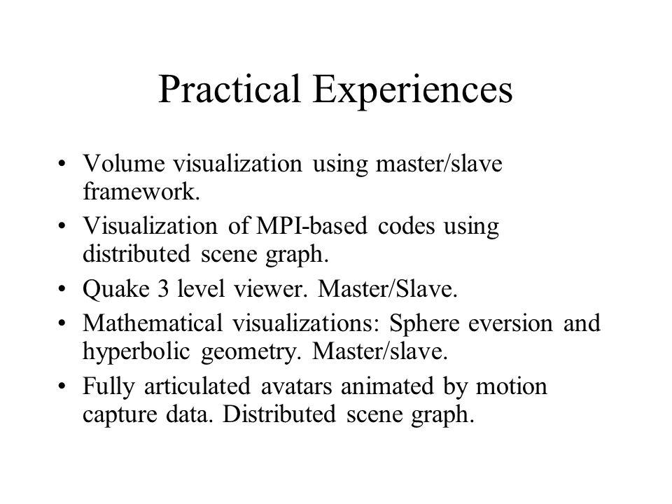 Practical Experiences Volume visualization using master/slave framework.