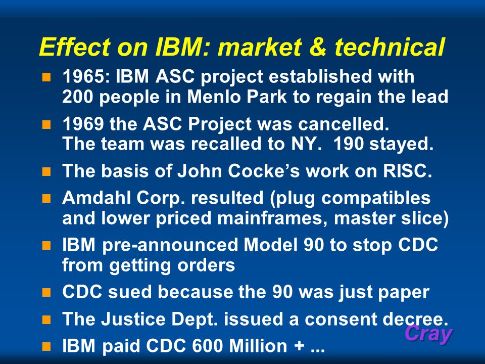 Cray Effect on IBM: market & technical 1965: IBM ASC project established with 200 people in Menlo Park to regain the lead 1969 the ASC Project was cancelled.