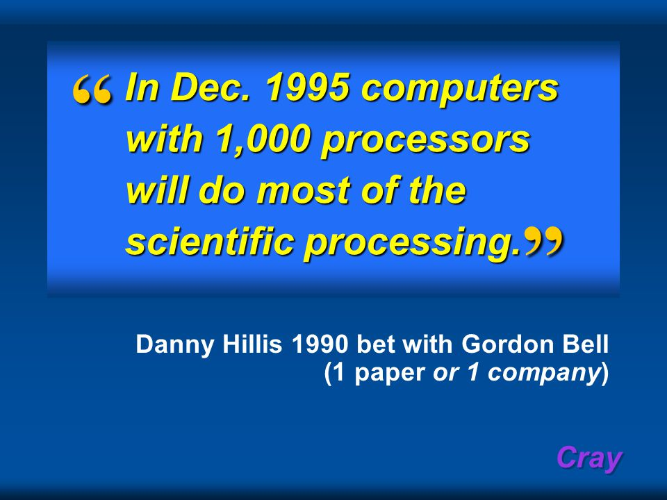 Cray In Dec. 1995 computers with 1,000 processors will do most of the scientific processing.