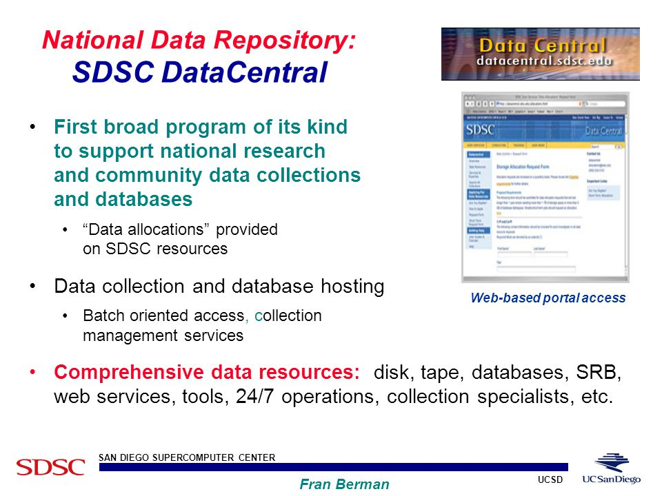 UCSD SAN DIEGO SUPERCOMPUTER CENTER Fran Berman National Data Repository: SDSC DataCentral First broad program of its kind to support national research and community data collections and databases Data allocations provided on SDSC resources Data collection and database hosting Batch oriented access, collection management services Comprehensive data resources: disk, tape, databases, SRB, web services, tools, 24/7 operations, collection specialists, etc.