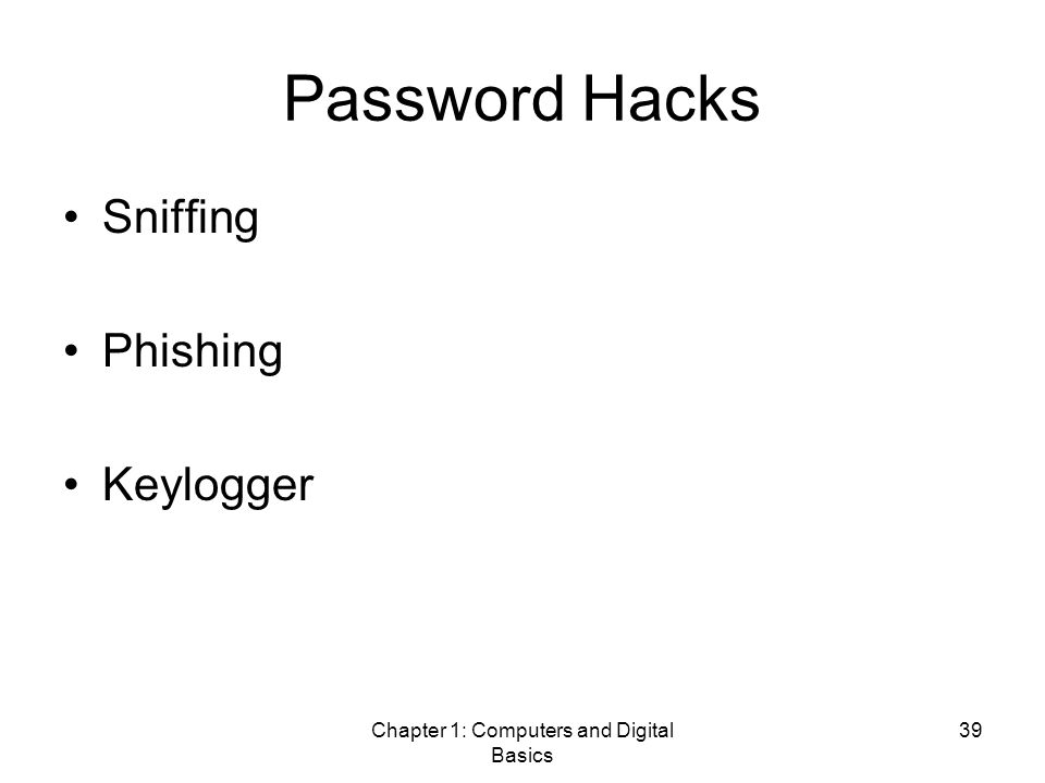Chapter 1: Computers and Digital Basics 39 Password Hacks Sniffing Phishing Keylogger