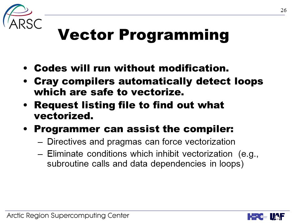 26 Vector Programming Codes will run without modification.