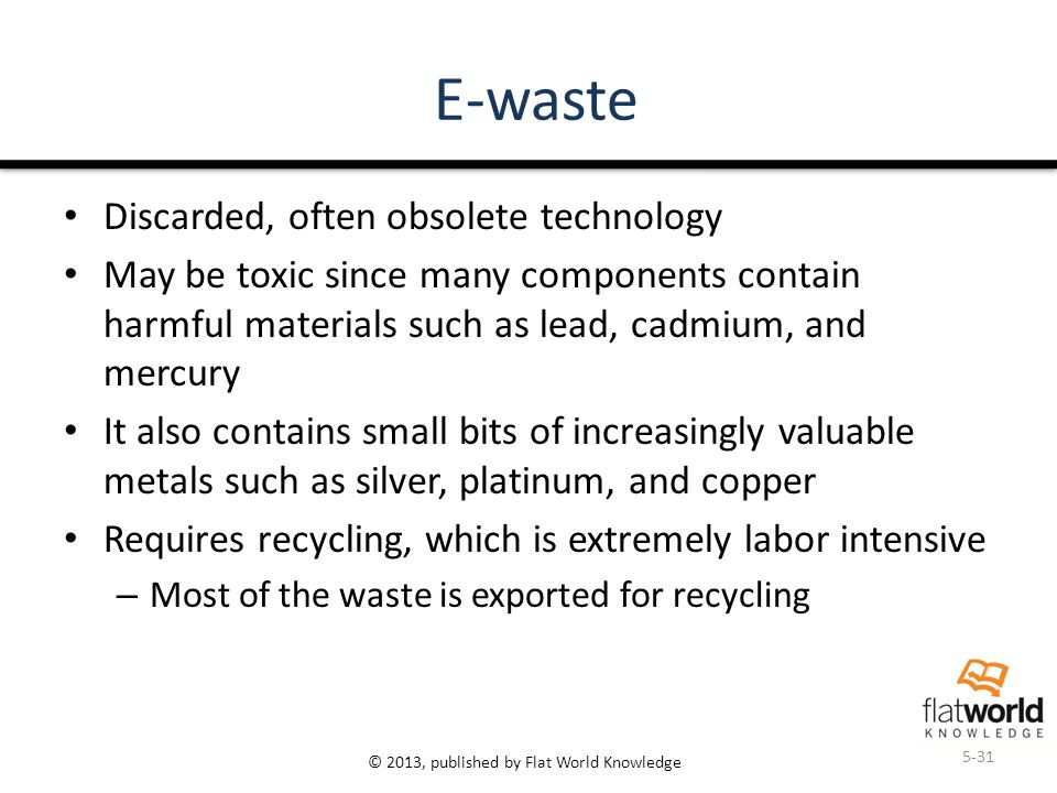 © 2013, published by Flat World Knowledge E-waste Discarded, often obsolete technology May be toxic since many components contain harmful materials such as lead, cadmium, and mercury It also contains small bits of increasingly valuable metals such as silver, platinum, and copper Requires recycling, which is extremely labor intensive – Most of the waste is exported for recycling 5-31