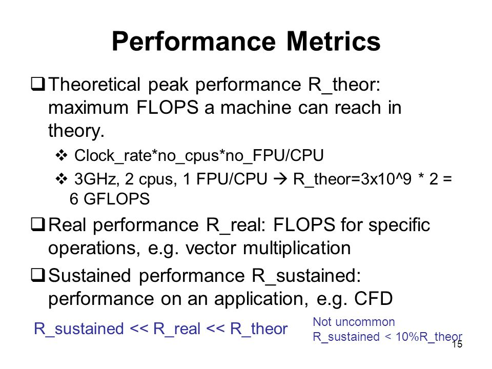 15 Performance Metrics  Theoretical peak performance R_theor: maximum FLOPS a machine can reach in theory.