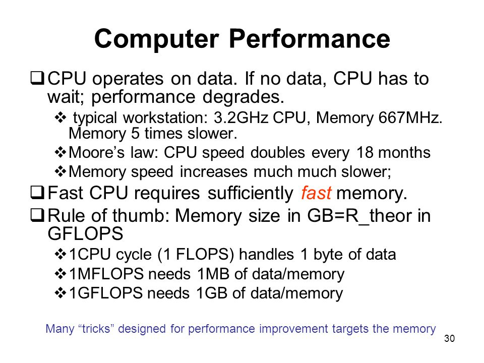 30 Computer Performance  CPU operates on data. If no data, CPU has to wait; performance degrades.