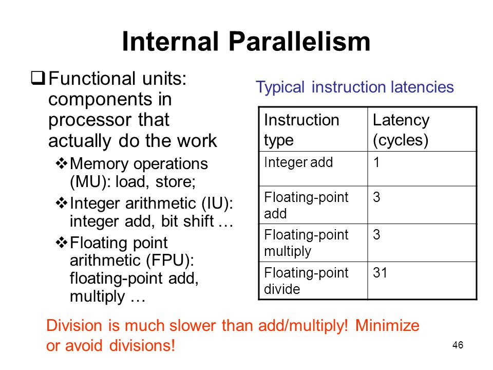 46 Internal Parallelism  Functional units: components in processor that actually do the work  Memory operations (MU): load, store;  Integer arithmetic (IU): integer add, bit shift …  Floating point arithmetic (FPU): floating-point add, multiply … Instruction type Latency (cycles) Integer add1 Floating-point add 3 Floating-point multiply 3 Floating-point divide 31 Typical instruction latencies Division is much slower than add/multiply.