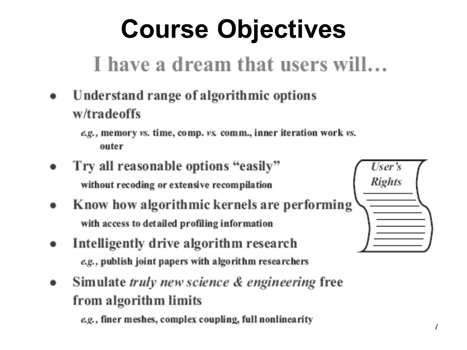 7 Course Objectives