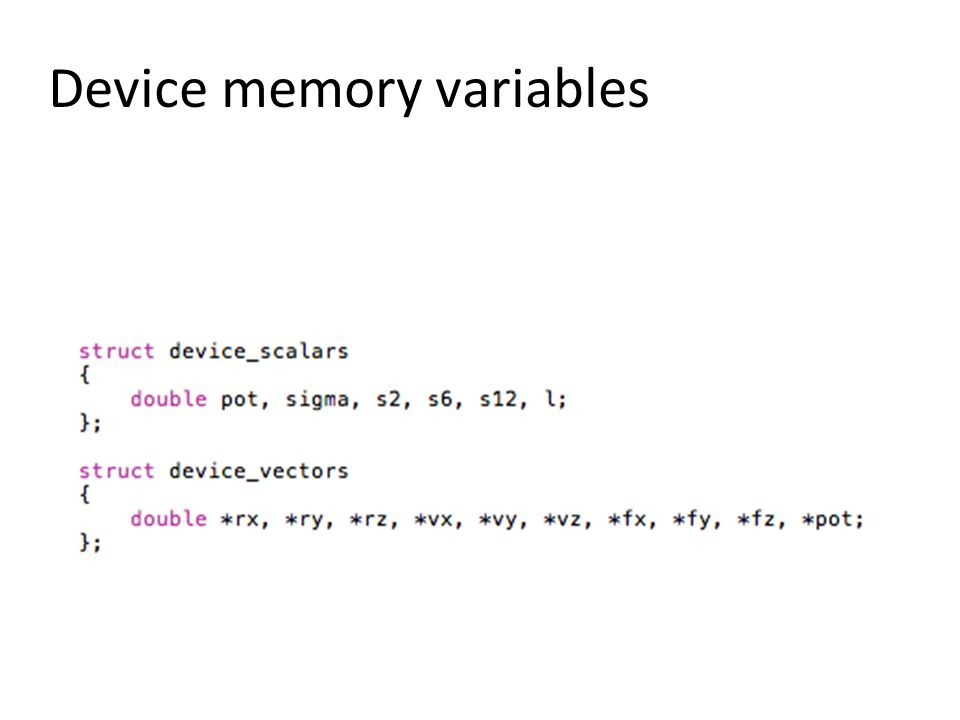 Device memory variables