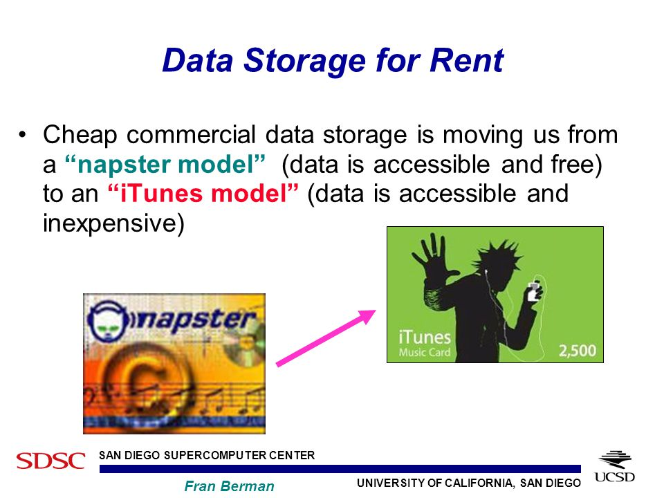 UNIVERSITY OF CALIFORNIA, SAN DIEGO SAN DIEGO SUPERCOMPUTER CENTER Fran Berman Data Storage for Rent Cheap commercial data storage is moving us from a napster model (data is accessible and free) to an iTunes model (data is accessible and inexpensive)
