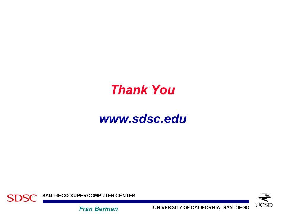 UNIVERSITY OF CALIFORNIA, SAN DIEGO SAN DIEGO SUPERCOMPUTER CENTER Fran Berman Thank You www.sdsc.edu
