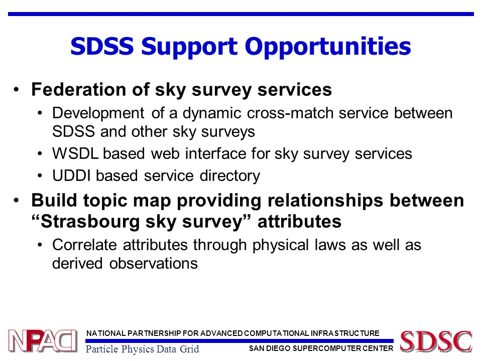 NATIONAL PARTNERSHIP FOR ADVANCED COMPUTATIONAL INFRASTRUCTURE SAN DIEGO SUPERCOMPUTER CENTER Particle Physics Data Grid SDSS Support Opportunities Federation of sky survey services Development of a dynamic cross-match service between SDSS and other sky surveys WSDL based web interface for sky survey services UDDI based service directory Build topic map providing relationships between Strasbourg sky survey attributes Correlate attributes through physical laws as well as derived observations