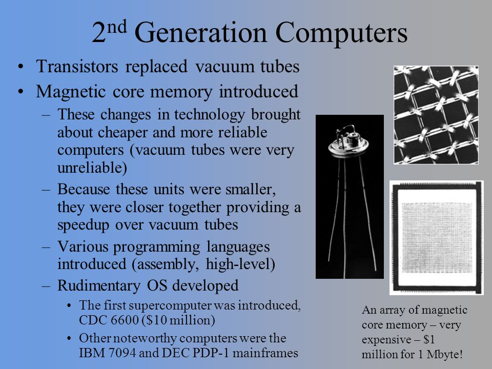 2 nd Generation Computers Transistors replaced vacuum tubes Magnetic core memory introduced –These changes in technology brought about cheaper and mor