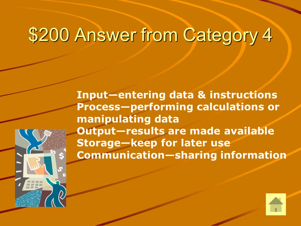 $200 Question from Category 4 DOUBLE JEOPARDY Explain the Information Processing Cycle: