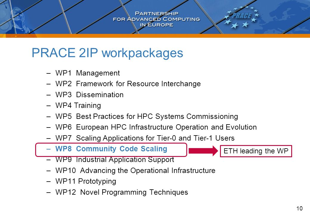 –WP1 Management –WP2 Framework for Resource Interchange –WP3 Dissemination –WP4 Training –WP5 Best Practices for HPC Systems Commissioning –WP6 European HPC Infrastructure Operation and Evolution –WP7 Scaling Applications for Tier-0 and Tier-1 Users –WP8 Community Code Scaling –WP9 Industrial Application Support –WP10 Advancing the Operational Infrastructure –WP11 Prototyping –WP12 Novel Programming Techniques PRACE 2IP workpackages 10 ETH leading the WP