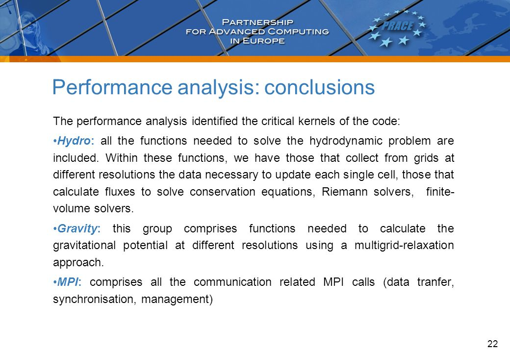 Performance analysis: conclusions The performance analysis identified the critical kernels of the code: Hydro: all the functions needed to solve the hydrodynamic problem are included.