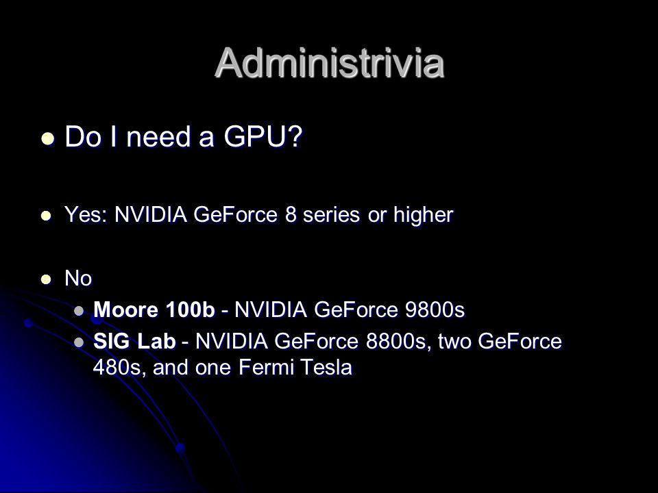 Administrivia Do I need a GPU. Do I need a GPU.