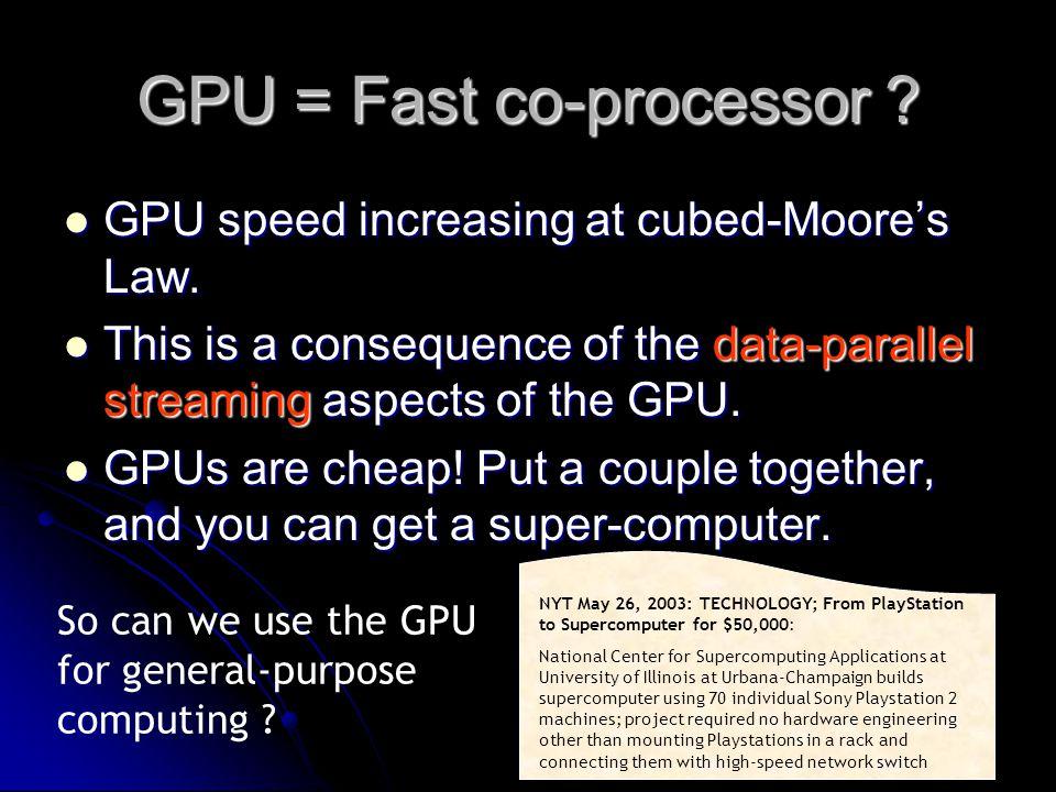 GPU = Fast co-processor . GPU speed increasing at cubed-Moore's Law.
