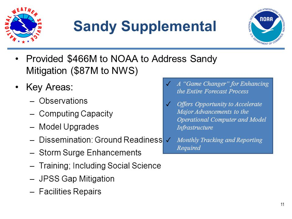 Sandy Supplemental Provided $466M to NOAA to Address Sandy Mitigation ($87M to NWS) Key Areas: –Observations –Computing Capacity –Model Upgrades –Dissemination: Ground Readiness –Storm Surge Enhancements –Training; Including Social Science –JPSS Gap Mitigation –Facilities Repairs ✓ A Game Changer for Enhancing the Entire Forecast Process ✓ Offers Opportunity to Accelerate Major Advancements to the Operational Computer and Model Infrastructure ✓ Monthly Tracking and Reporting Required 11