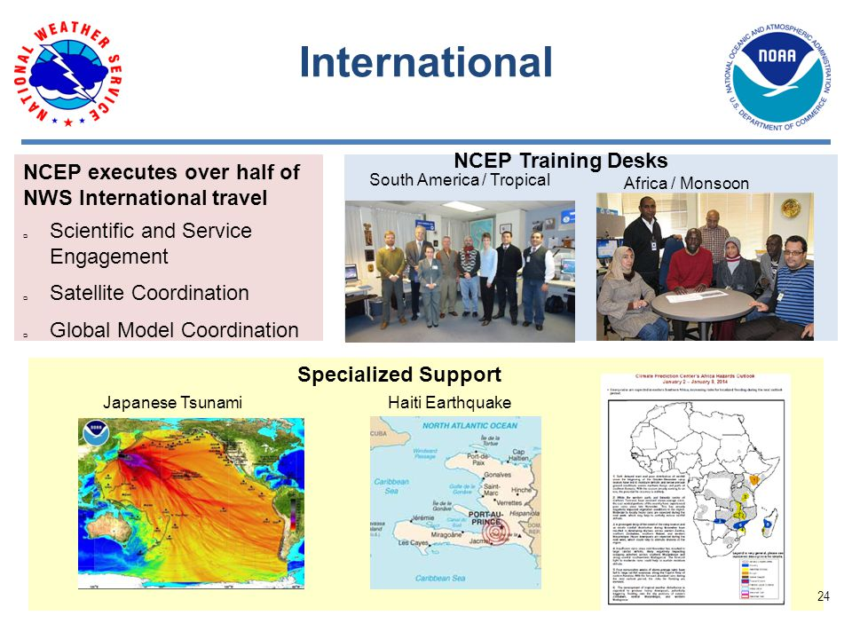 International NCEP Training Desks Specialized Support Haiti EarthquakeJapanese Tsunami South America / Tropical Africa / Monsoon NCEP executes over half of NWS International travel  Scientific and Service Engagement  Satellite Coordination  Global Model Coordination 24