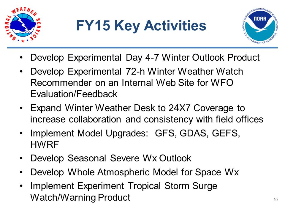 FY15 Key Activities Develop Experimental Day 4-7 Winter Outlook Product Develop Experimental 72-h Winter Weather Watch Recommender on an Internal Web Site for WFO Evaluation/Feedback Expand Winter Weather Desk to 24X7 Coverage to increase collaboration and consistency with field offices Implement Model Upgrades: GFS, GDAS, GEFS, HWRF Develop Seasonal Severe Wx Outlook Develop Whole Atmospheric Model for Space Wx Implement Experiment Tropical Storm Surge Watch/Warning Product 40