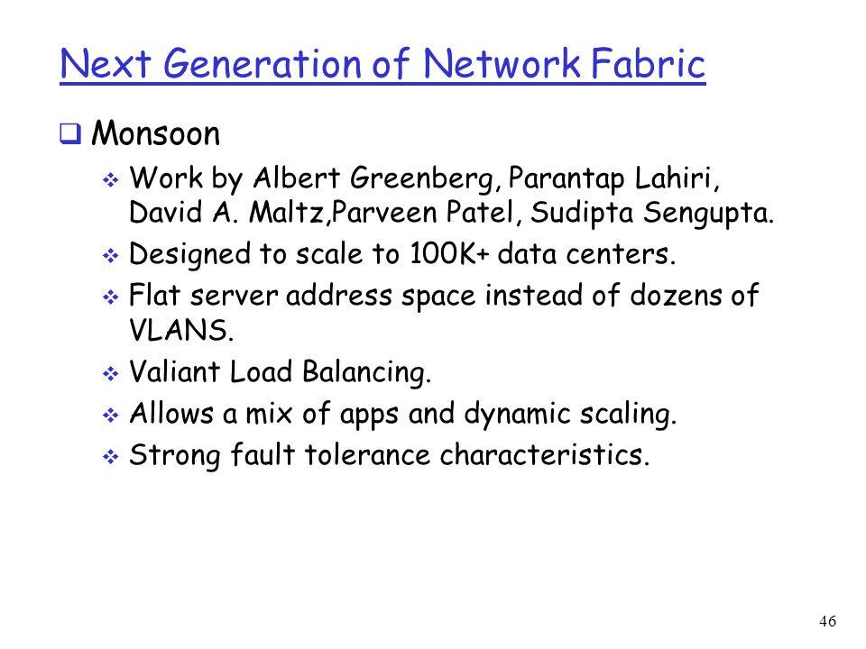 Next Generation of Network Fabric  Monsoon  Work by Albert Greenberg, Parantap Lahiri, David A. Maltz,Parveen Patel, Sudipta Sengupta.  Designed to