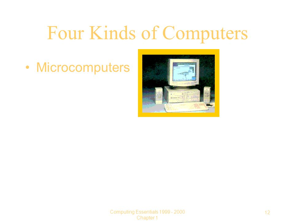 12 Computing Essentials Chapter 1 Four Kinds of Computers Microcomputers
