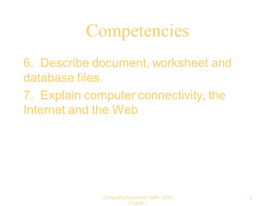 5 Computing Essentials Chapter 1 Competencies 6.