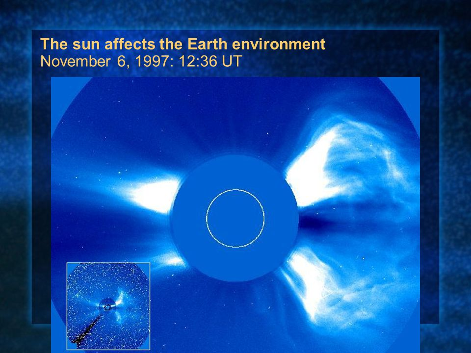 The sun affects the Earth environment November 6, 1997: 12:36 UT