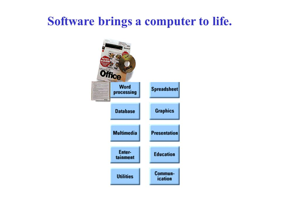 Application software and system software work together to provide useful output.