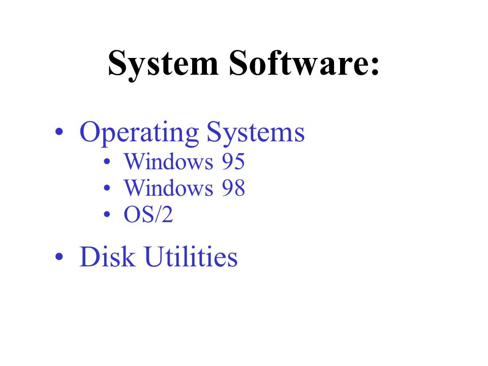 Operating Systems Windows 95 Windows 98 OS/2 Disk Utilities System Software: